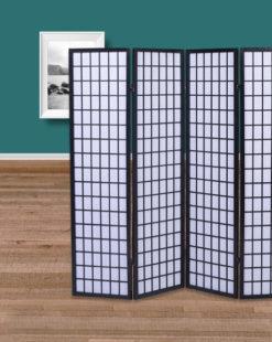 Paravent 4 panneaux noir Nagoya