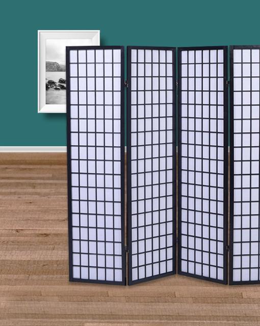 achetez votre paravent 4 panneaux noir nagoya. Black Bedroom Furniture Sets. Home Design Ideas