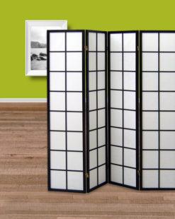 paravent 4 panneaux Sapporo noir