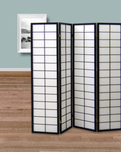 paravent 4 panneaux Tokyo noir
